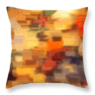 Warm Colors Under Glass - Abstract Art Throw Pillow by Carol Groenen