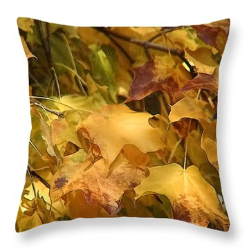 Warm Fall Leaves Throw Pillow by Michael Flood