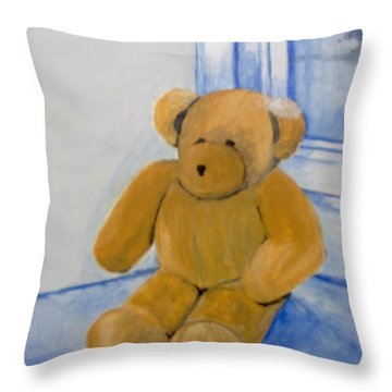 Throw Pillow featuring the painting Warm Friend On A Cold Day by Saundra Johnson