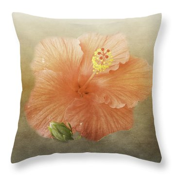 Warm Hibiscus Throw Pillow