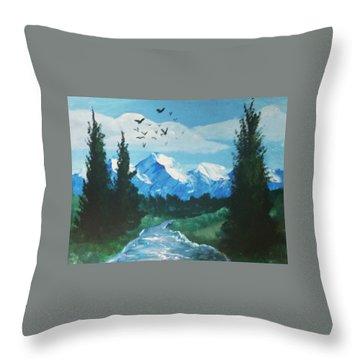 Warm Lake Throw Pillow