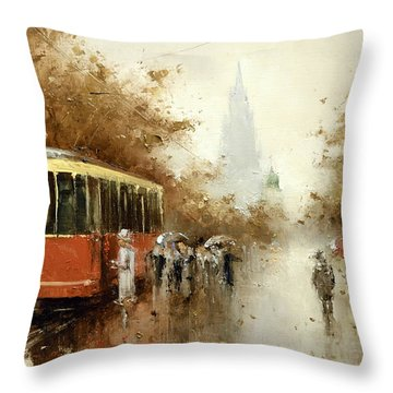 Warm Moscow Autumn Of 1953 Throw Pillow