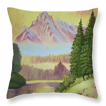 Warm Mountain Throw Pillow