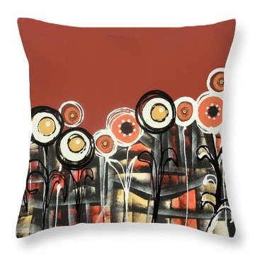 Warm Red Flowers Throw Pillow