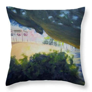 Warm Shadows On The Plaza Throw Pillow