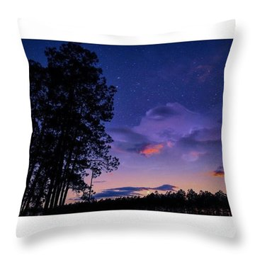 Warm Starry Nights Throw Pillow by Janel Cortez