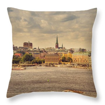 Warm Stockholm View Throw Pillow by RicardMN Photography