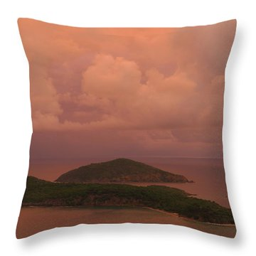 Throw Pillow featuring the photograph Warm Sunset Palette Of Inner And Outer Brass Islands From St. Thomas by Jetson Nguyen