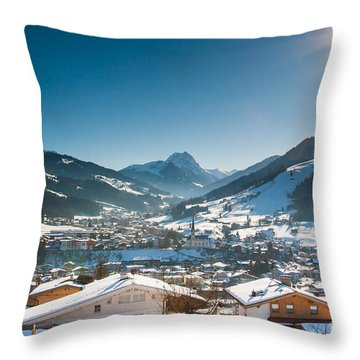 Warm Winter Day In Kirchberg Town Of Austria Throw Pillow