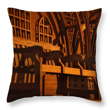 Warmth Of A London Bench Throw Pillow by Mike McGlothlen