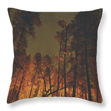 Warmth Of Trees And Stars Throw Pillow