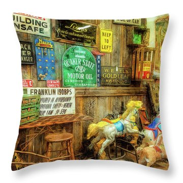 Warning Building Unsafe Throw Pillow