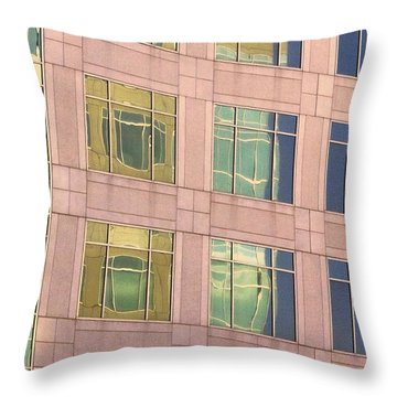 Throw Pillow featuring the photograph Warped Window Reflectionss by Linda Phelps
