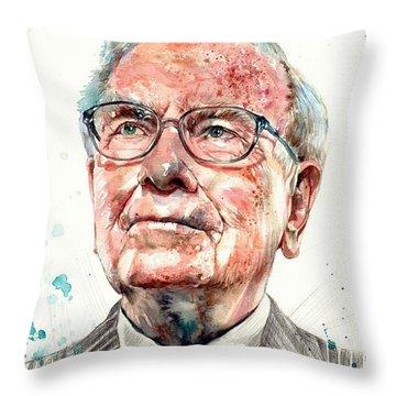 Warren Buffett Portrait Throw Pillow