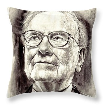 Warren Buffett Watercolor Throw Pillow