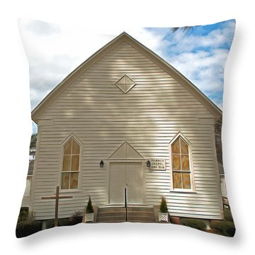 Warren Chapel Throw Pillow by Marion Johnson