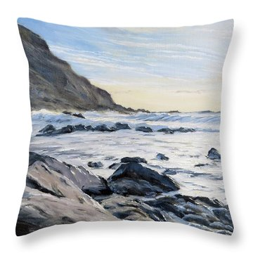 Throw Pillow featuring the painting Warren Point Sunset Duckpool by Lawrence Dyer