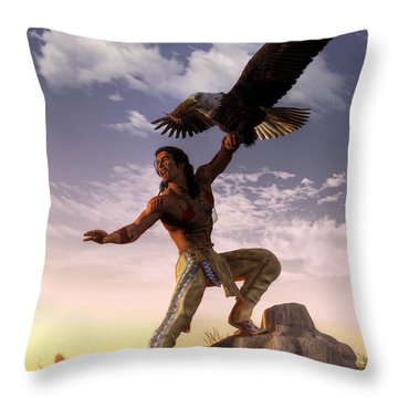 Warrior And Eagle Throw Pillow