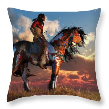 Warrior And War Horse Throw Pillow