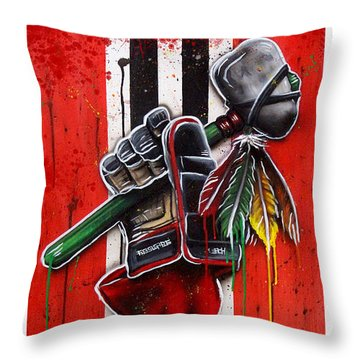 Warrior Glove On Red Throw Pillow by Michael T Figueroa