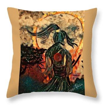Warrior Moon Throw Pillow by Vennie Kocsis