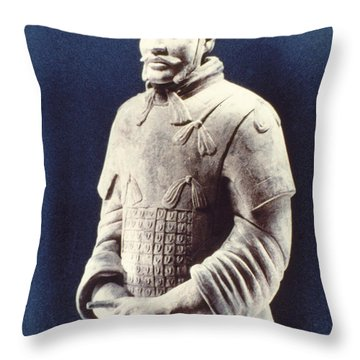 Throw Pillow featuring the photograph Warrior Of The Terracotta Army by Heiko Koehrer-Wagner