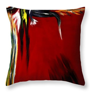 Throw Pillow featuring the painting Warrior Painting by Renee Anderson