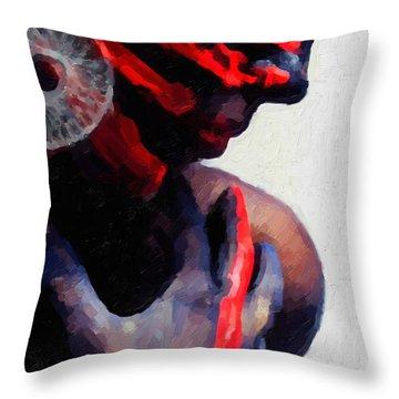 Throw Pillow featuring the digital art Warrior Princess by Serge Averbukh