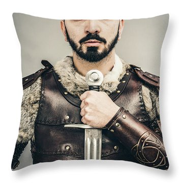 Warrior With Sword Throw Pillow