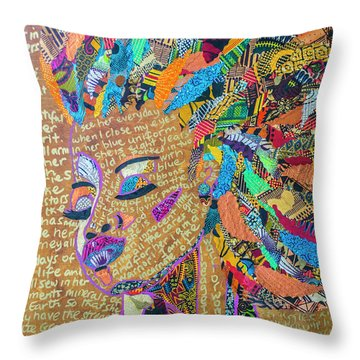Throw Pillow featuring the tapestry - textile Warrior Woman by Apanaki Temitayo M