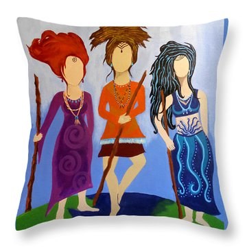 Warrior Woman Sisterhood Throw Pillow by Jean Fry