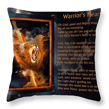 Warrior's Heart Poetry Throw Pillow