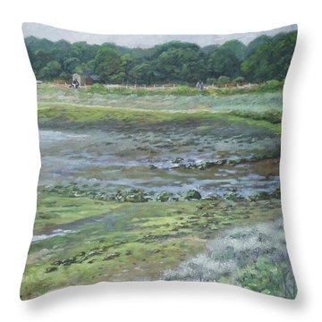 Warsash Coastline With Tide Out Hampshire Throw Pillow
