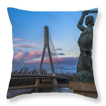 Warsaw Mermaid And Swiatokrzyski Bridge On Vistula Throw Pillow
