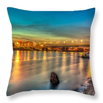 Throw Pillow featuring the photograph Warsaw Reflected By Vistula River by Julis Simo