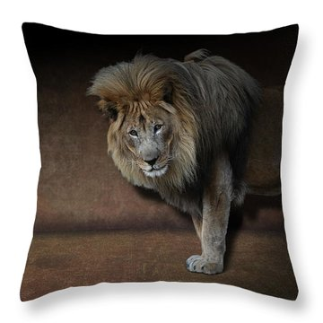 Throw Pillow featuring the photograph Was That My Cue? - Lion On Stage by Debi Dalio