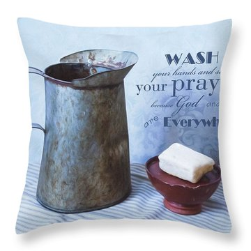 Bathroom Sentiment Throw Pillow