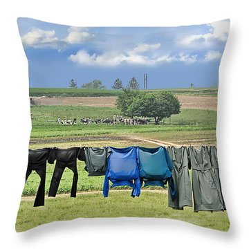 Wash Day In Amish Country Throw Pillow