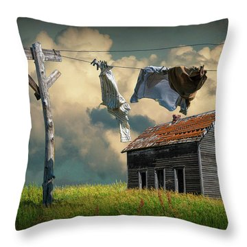 Wash On The Line By Abandoned House Throw Pillow