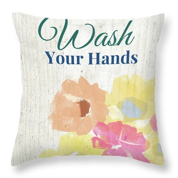 Wash Your Hands Floral -art By Linda Woods Throw Pillow