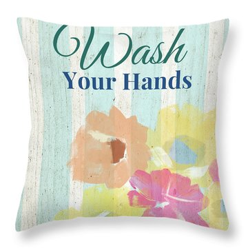 Wash Your Hands Floral Stripe- Art By Linda Woods Throw Pillow