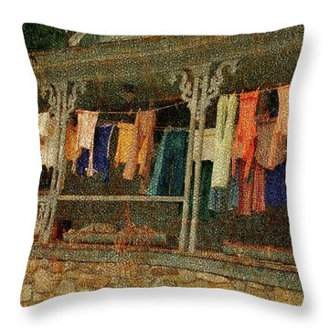 Throw Pillow featuring the photograph Washday Alton Nh by Wayne King