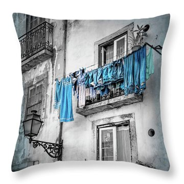 Washday Blues In Lisbon Portugal Black And White Throw Pillow