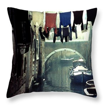 Washday In Venice Italy Throw Pillow
