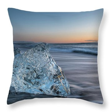 Washed Up Ice At Dawn Throw Pillow