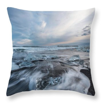 Washed Up Ice Sunset Throw Pillow by Scott Cunningham