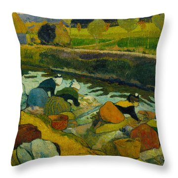 Washerwomen, 1888 Throw Pillow