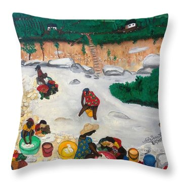 Washing Clothes By The Riverside In Haiti Throw Pillow by Nicole Jean-Louis