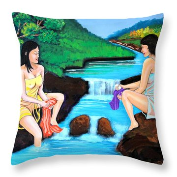 Washing In The River Throw Pillow
