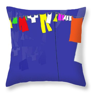 Throw Pillow featuring the digital art Washing Line by Barbara Moignard